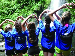 Costa Rica Teen Sea Turtle Adventure Campers at a Waterfall