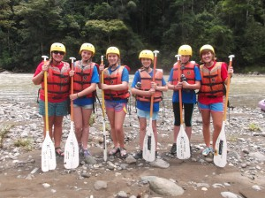 Costa Rica Sea Turtle campers ready to raft!