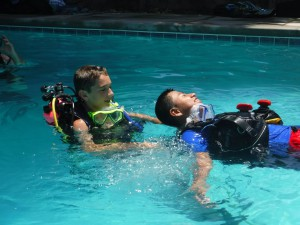 SCUBA camp campers practicing their skills