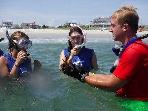 scuba camp campers learning marine biology